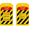 """Brady  86498 7"""" Height x 4"""" Width, Heavy Duty Polyester (B-837), Red/Black on Yellow Steam Leak Tags (10 Tags)"""