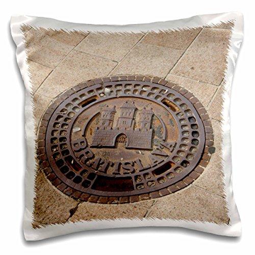 Danita Delimont - Slovakia - Slovakia, Bratislava, Manhole, coat of arms - EU42 CMI0054 - Cindy Miller Hopkins - 16x16 inch Pillow Case (pc_82856_1)