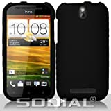 SODIAL(R) Black Hard Case Snap On Rubberized Cover For HTC One SV