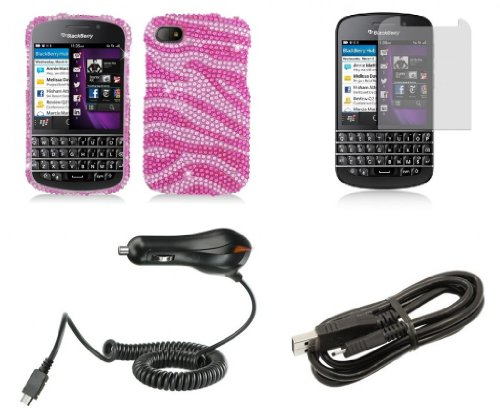 Blackberry Q10 - Premium Accessory Kit - Pink Zebra Stripes Diamond Bling Case + Atom Led Keychain Light + Screen Protector + Micro Usb Cable + Car Charger
