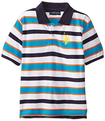 U.S. Polo Assn. Big Boys' Short Sleeve Cotton Pique Stripe, Surf Blue, 14/16