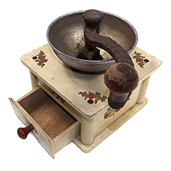 Vintage Wooden Cottage Chic Hand Crank Coffee Grinder Mill w/ Flower Decals