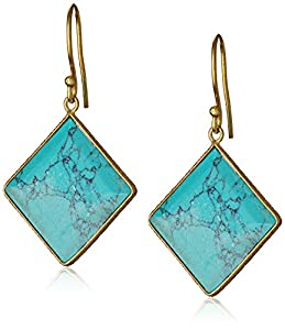 """Argento Vivo Gold-Plated and Synthetic Turquoise Drop Earrings, 1.5"""""""