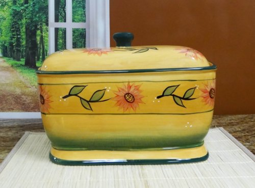 Bread Box, Toast Jar Canister Sunflower Yellow front-307209