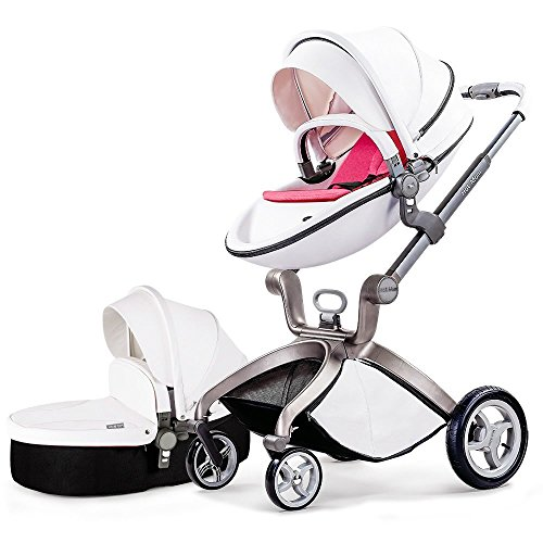 Hot Mom Kombikinderwagen und Buggy Sportwagen 3-in-1 Travelsystem 2016 Fashion mit Kinderwagenaufsatz,weiß (Pink)