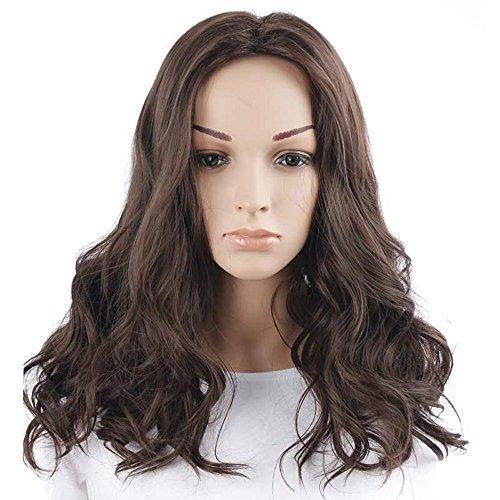 DENIYA Fashion Medium 18 Inches Wavy Dark Brown Capless Synthetic Hair Wig