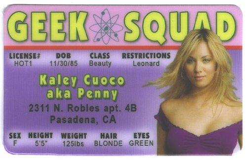 Kaley Cuoco Penny Big Bang Theory Fun Fake ID License