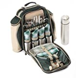 Super Deluxe Four Person Picnic Backpack in Forest Green