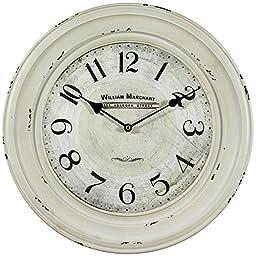 Yosemite Home Decor Circular Iron Wall Clock, Distressed White Iron Frame with Glass