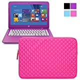 Evecase Premium Neoprene Sleeve Case Travel Carrying Storage Computer Bag for HP Stream 13 / 14 inch Laptop Notebook - Hot Pink