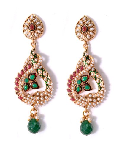 Keerthi Jewels Copper Alloy, Green and Marron stone, pearl Dangle & Drop earrings for Women (KEJWL013) (multicolor)