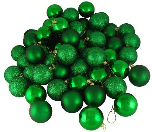 "32ct Xmas Green Shatterproof 4-Finish Christmas Ball Ornaments 3.25"" (80mm)"