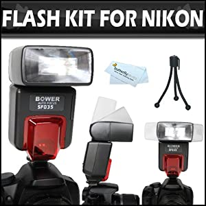 Flash Bundle Includes Digital Autofocus i-TTL Flash With Zoom And Bounce + More For Nikon D3200 D800 D7000 D5100 D200 D100 D700 D70S D80 D70 D50 D5000 D3000 D300S D3100 D90 D40 D40X D60 D3 D2H D3X D700 D300 DSLR Camera