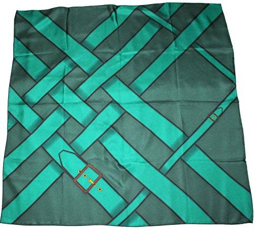 burberry-seidentuch-89-x-89cm-grun-schwarz-mit-gurtelschnallenmotiv-scarve