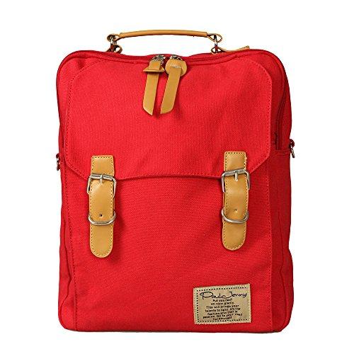 リュック デイパック 2way リュックサック ショルダーバッグ キャンバス地 通学バッグ 学生 (RED)