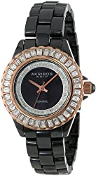 Akribos XXIV Women's AK518RGB Ceramic Quartz Baguette Bracelet Watch