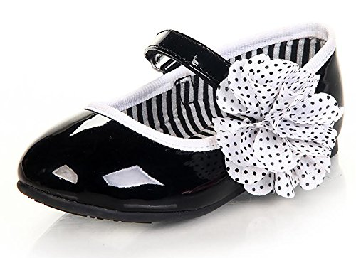 Black White Dots Flower Patent Leather Party Shoes Infant Toddler Girls