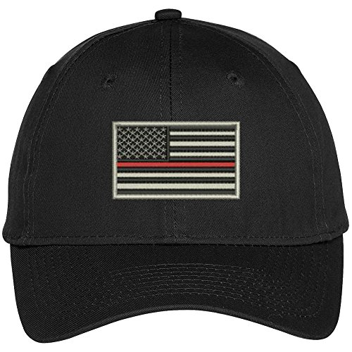 US American Flag Thin Red Line Fire Fighter Embroidered Baseball Cap - Black (Firefighter Cap compare prices)