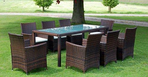 Mobili da giardino rattan sintetico 1 tavolo e 8 sedie for Mobili da giardino rattan economici