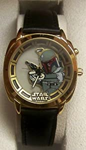 Fossil Star Wars Boba Fett Watch LI-1620 Gold Version Light Up Lmtd Ed. of 1000