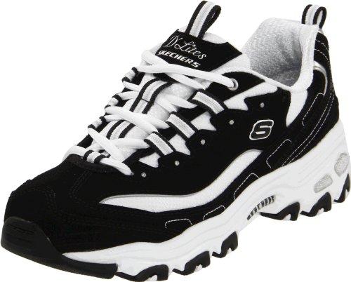 Skechers Sport Women's D'Lites Lace-Up Sneaker, Black/White,9 M US