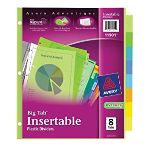 Avery  Big Tab Insertable Plastic Dividers,  8-Tabs, 1 Set (11901)