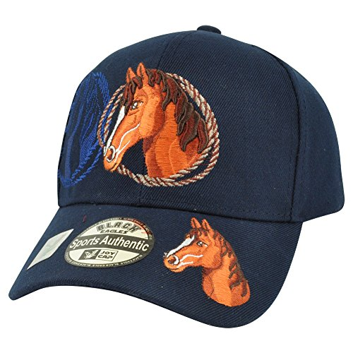 Horse Riding Rodeo Cowboy Velcro Mustang Outdoors Country Hat Cap Navy Animal