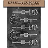 Dress My Cupcake DMCH041 Chocolate Candy Mold Halloween Lollipops R.I.P.