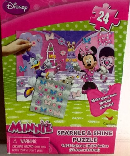 Disney Minnie Sparkle & Shine Jigsaw Puzzle!!! 24 Piece Colorful Puzzle with Stickers to Personalize Your Puzzle! - 1