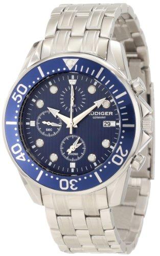 Rudiger Men's R2001-04-003 Chemnitz Blue IP Rotating Bezel Blue Dial Chronograph Watch