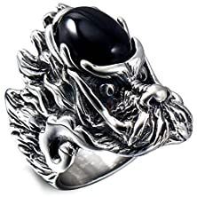 buy Stainless Steel Agate Inlaid Vintage Classical Biker Dragon Skull Men'S Ring Silver Black Aooaz Jewelry