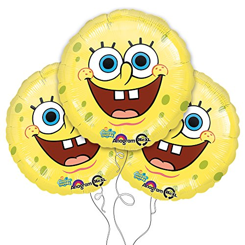 "Yellow Spongebob Squarepants Face 18"" Mylar Balloon 3pk"