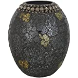CONJURE Iron And Mosaic Flower Vase (17 Cm X 17 Cm X 19 Cm, Grey And Gold)