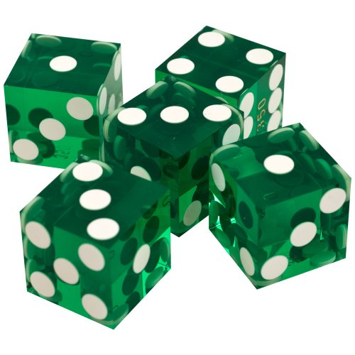 New Trademark Poker 19mm A Grade Serialized Set of Casino Dice (Green)