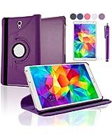 """SAVFY® Housse Etui Luxe Cuir Rotatif pour Samsung Galaxy Tab S 8.4"""" SM-T700 + STYLET + FILM D'ECRAN OFFERTS! 3en1 Etui de protection Pochette Stand Coque Samsung Galaxy Tab S 8.4 Pouce SM-T700 SM-T705 PU Cuir Style avec fonction Support - Housse avec rotation à 360°Multi Angle Samsung Galaxy Tab S 8.4 Pouces - Violet"""