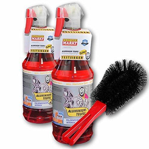 2x-Detergente-cerchi-auto-Alluminio-DIAVOLO-1000-ml-rosso-plus-Spazzola-per-ruote