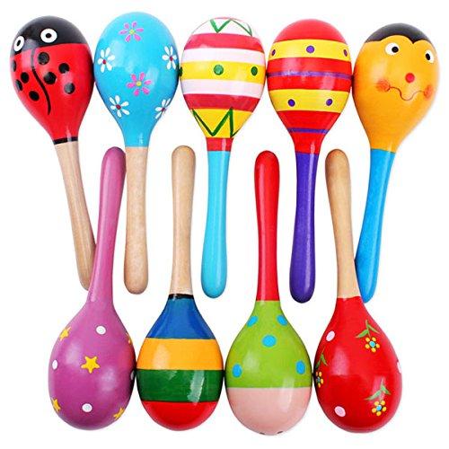 PIXNOR 2ST 20cm Funny Kinder Maracas Rassel Shaker musikalische Bildungs Holzspielzeug (zufällige Farbe Muster)