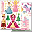 "Set de stickers muraux Wandkings ""princesses du monde"" - plus de 35 autocollants sur 2 feuilles A4"