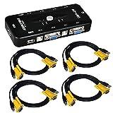 Caja de Interruptores ieGeek USB KVM cables VGA USB para monitor, teclado y mouse para PC, 2 puertos