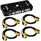 ieGeek® USB KVM Switch Box + VGA USB Cables for PC Monitor/Keyboard/Mouse Control (4 Port)