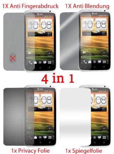 Pellicola protettiva per HTC One X (4 pezzi) - pellicola trasparente di protezione frontale. Specchio, trasparente, anti impronta digitale, privacy