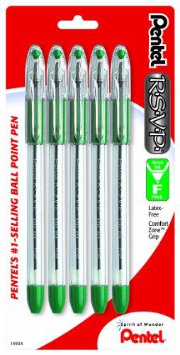 Pentel R.S.V.P. Ballpoint Pen, Fine Line, Green Ink, 5 Pack (Bk90Bp5D)