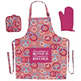 Kitchen Gifts for Grandma Everything is Better in Grandma's Kitchen Funny Aprons 3-piece Cooking Apron Set with Oven Mitt and Pot Holder Funny Apron Pink Circle