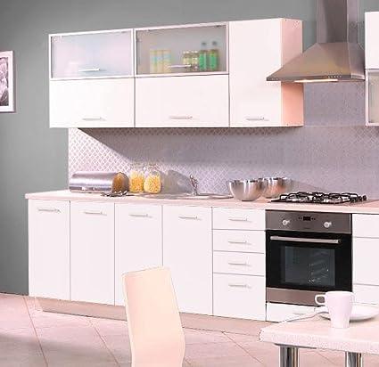 Kuchenzeile 16291 Kuchenblock jersey / weiß Hochglanz 260cm