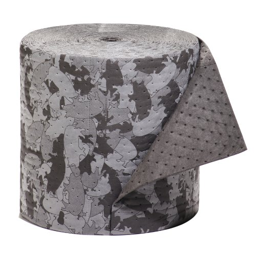 "New Pig Mat158 Polypropylene Gray Ham-O Hamouflage Pattern Absorbent Mat Roll, 23.7 Gallon Absorbency, 150' Length X 16"" Width, Gray/Black front-965312"