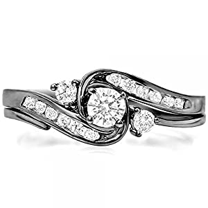 0.50 Carat (ctw) Black Rhodium Plated 10k White Gold Diamond Swirl Bridal Ring Set 1/2 CT (Size 6)