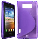 Cellmax LG Optimus L7 P700/P705 Gel Back Protection Case Cover Skin Pouch With S-Line Pattern - Purple