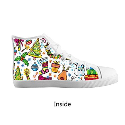 JIUDUIDODO Boys Girls Christmas Santa Claus Lace-up High-top Pop Canvas Shoes White Sneakers,US1
