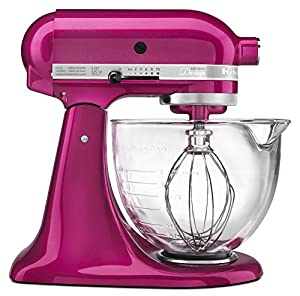 KitchenAid KSM155GBRI 5 Qt. Artisan Design Series with Glass Bowl - Raspberry Ice