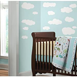 RoomMates RMK1562SCS Clouds (White Bkgnd) Peel and Stick Wall Decals by York Wallcoverings